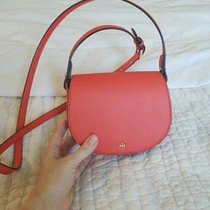 Tory Burch Mini Leather Saddle Bag, Poppy Red